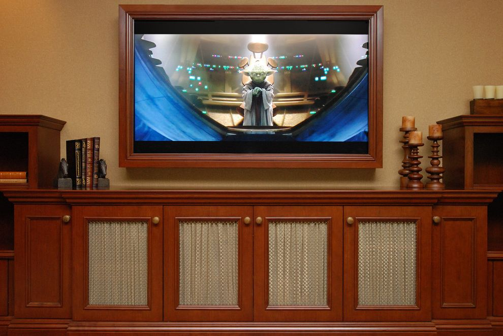 Hidden Vision Tv Mount with Traditional Home Theater and Bookends Storage Tv Cabinet Tv Frame Wall Mounted Tv Wood Cabinets