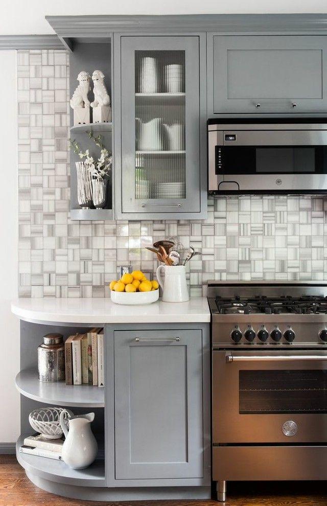 High End Ranges   Transitional Kitchen  and Corner Curved Gray Grey Pre War Apartment Range Storage