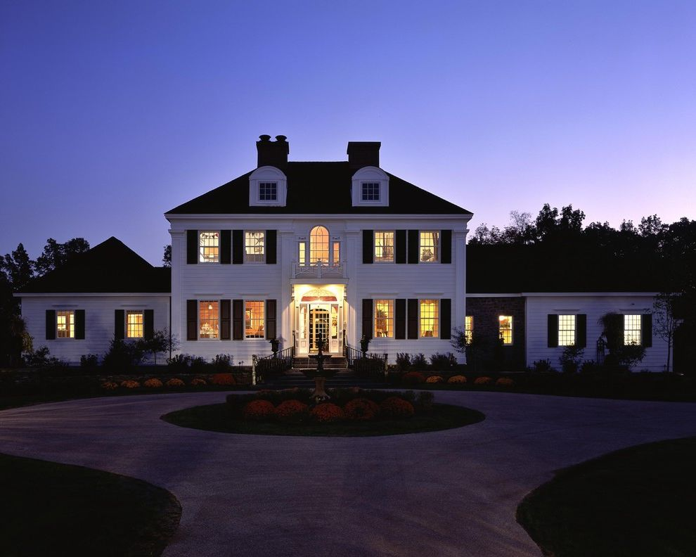 Hip Roof Construction   Traditional Exterior Also Circular Driveway Dormer Windows Driveway Entrance Entry Fountain Front Door Grass Lawn Turf Water Feature White Wood Window Shutters Wood Siding