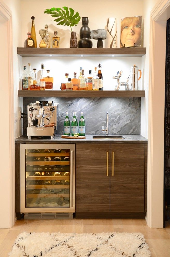 Home Bar Ice Maker   Contemporary Home Bar Also Beer Wine Fridges Coffee Bar Modern Kitchen Quartzite Undershelf Lighting Waterfall Island White Rug