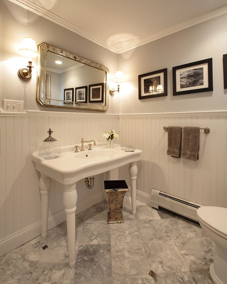 Home Depot Bloomfield Ct   Traditional Powder Room  and Antique Mirror Apothecary Jars Bathroom Black and White Photos Farmhouse Gray Walls Guest Bath Marble Marble Floors Mirrors Powder Room Turned Wood Vanity Wainscoting Wall Sconces