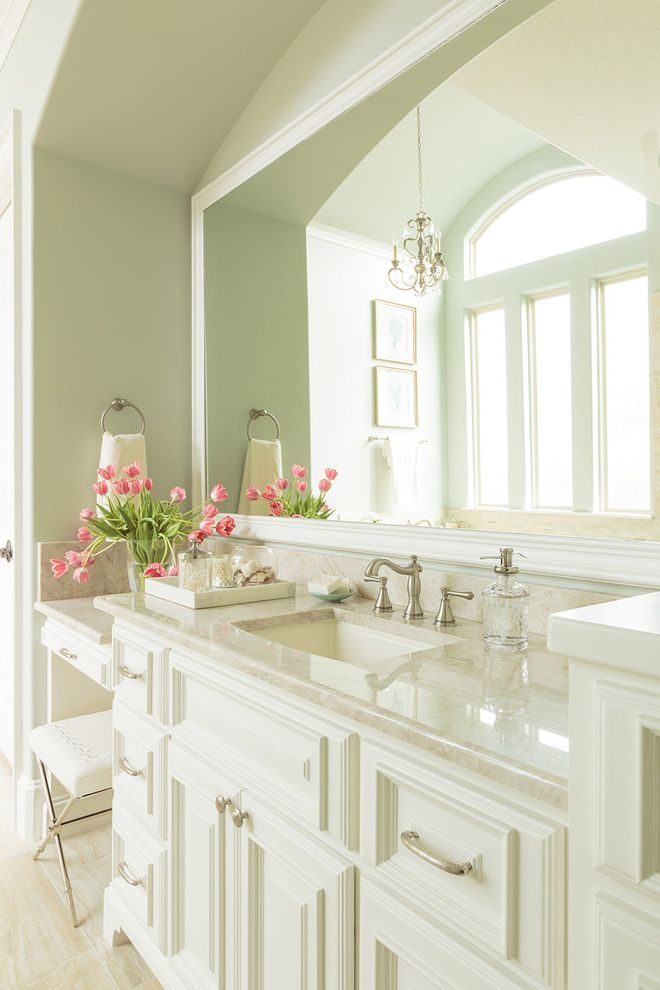 Home Depot Bloomfield Ct with Traditional Bathroom Also Blue Green Brushed Nickel Hardware Large Mirror Master Bathroom Porcelain Tile Quartzite Counters Sea Green Walls Soft Green Spa Bathroom Towel Ring Vanity Vanity Stool White Cabinetry