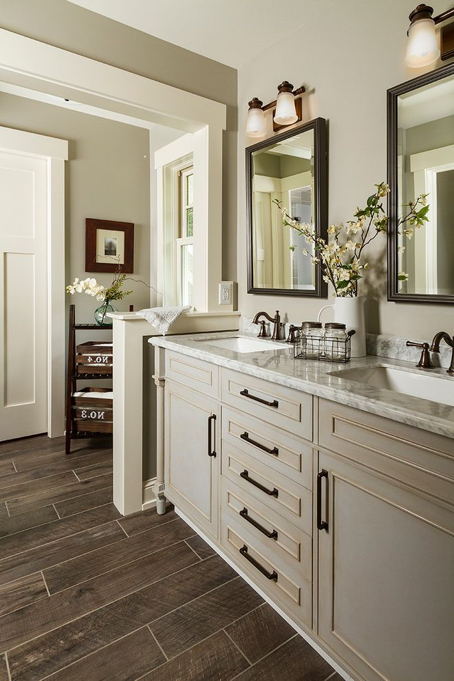 Home Depot Bloomfield Ct with Traditional Bathroom  and Distressed Vanity Grey Walls Pivot Mirror Refurbished Wood Floor Tile