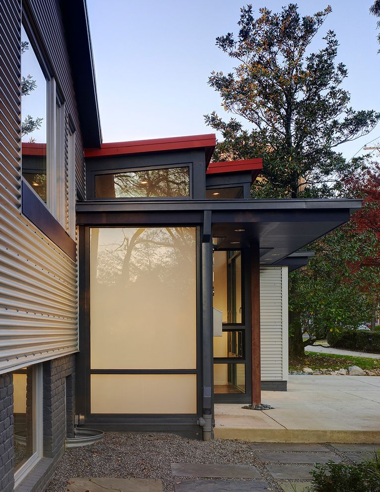 Home Depot Canton Mi   Contemporary Exterior Also Cgi Colored Glass Concrete Slab Corrugated Galvanized Iron Corrugated Metal Siding Eaves Galvalume Siding Grass Gravel Metal Windows Overhang Painted Brick Steel Post Stepping Stones Tall Windows