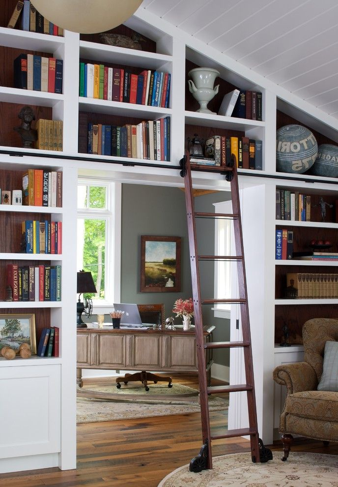 Home Depot Canton Mi   Traditional Home Office Also Bookshelves Built in Shelves Built in Storage Library Library Ladder Rolling Ladder Sloped Ceiling Vaulted Ceiling White Wood Wood Ceiling Wood Flooring Wood Molding