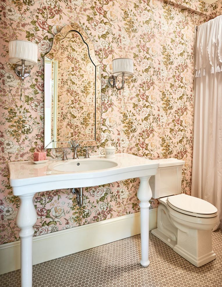 Home Depot Clearwater with Traditional Bathroom  and Console Sink Dainty Floral Wallpaper Flower Wallpaper Framed Mirror Honeycomb Floor Tile Pastel Pink Wall Sconces