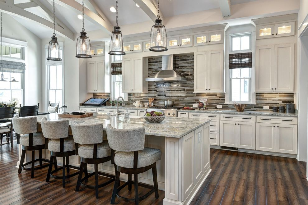 Home Depot Clearwater with Traditional Kitchen  and Cathedral Ceiling Clerestory Cabinets Gray Countertop Pendant Lights Recessed Lighting Upholstered Bar Stools Vaulted Ceiling White Trusses