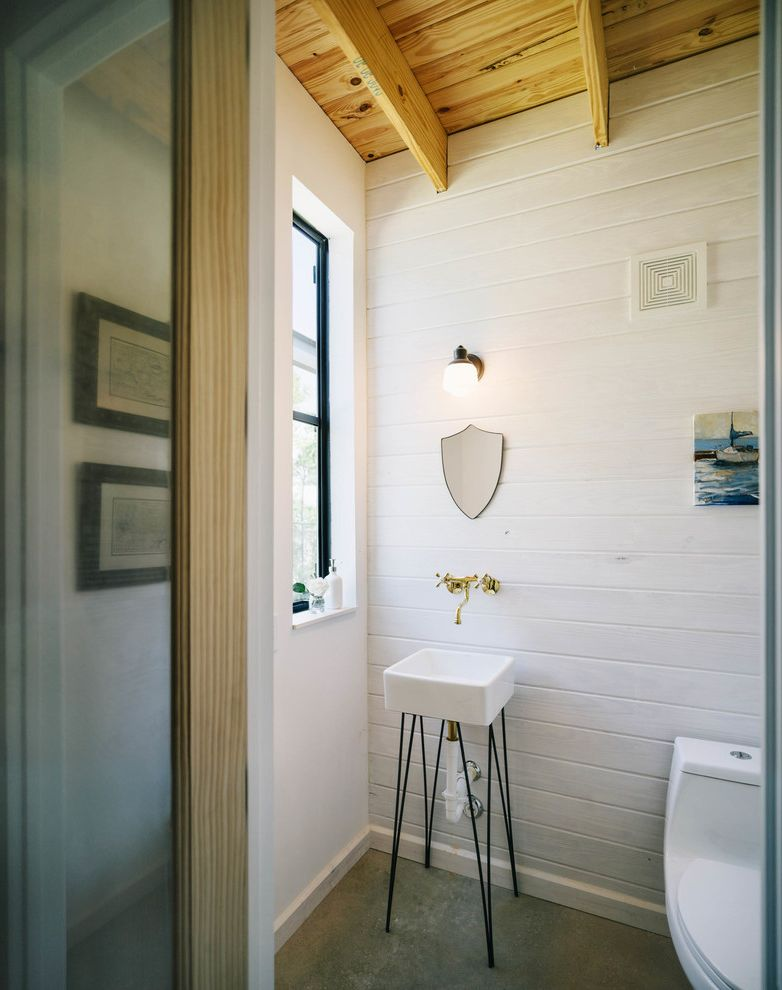 Home Depot Durham   Industrial Bathroom  and Barn Exposed Beams Farmhouse Hairpin Legs Small Mirror Steel Windows Tongue and Groove Wall Wall Mounted Faucet Wall Sconce Whitewash Wood Ceiling