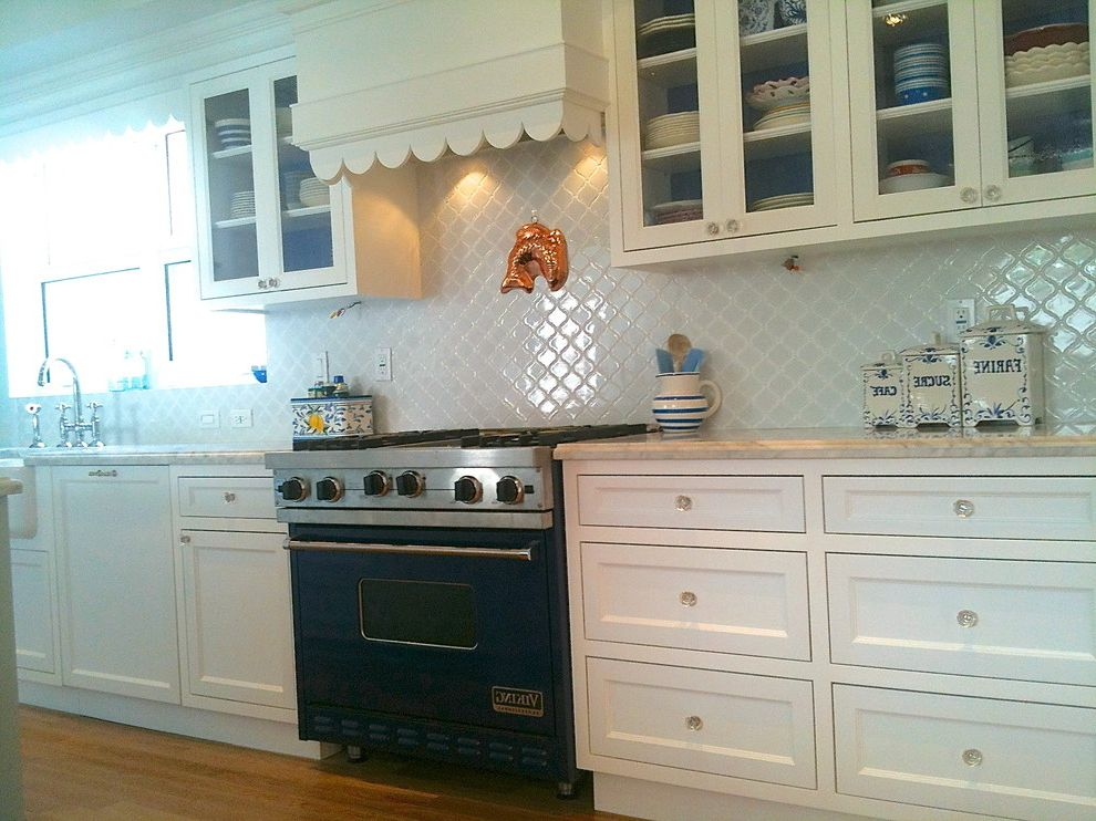 Home Depot Durham with Traditional Kitchen  and Arabesque Back Splash Arabesque Tile Bridge Faucet Carrera Marble Carrera Marble Counter Cobalt Blue Viking Range Farmhouse Sink Moroccan Oak Floor Quatrefoil Rohl Scalloped Range Hood Shaw Fireclay