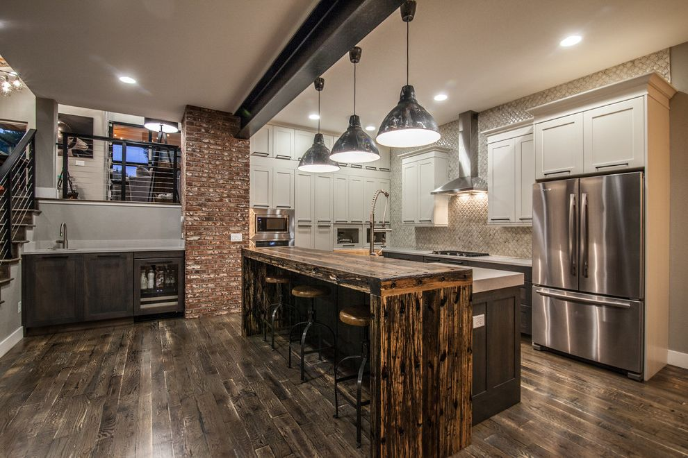Home Depot Fort Collins with Transitional Kitchen Also Bar Stool Beam Breakfast Bar Built in Bar in Kitchen Exposed Brick Full Wall Backsplash Pendant Lights Vent White Kitchen