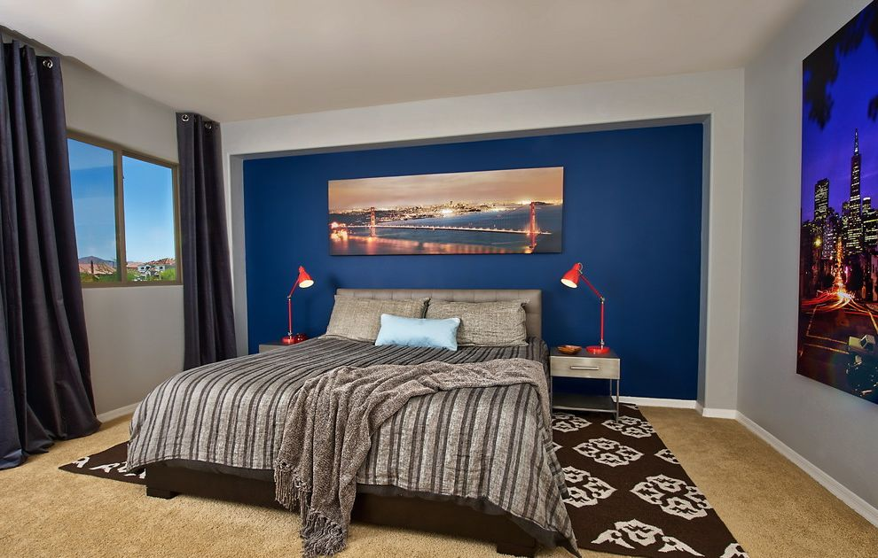 Home Depot Kingman Az with Contemporary Bedroom Also Accent Wall Area Rug Bedside Table City Art Curtains Drapes Focal Wall Neutral Colors Nightstand Red Accent Royal Blue Wall Swing Arm Lamp Tan Bedding Window Treatments