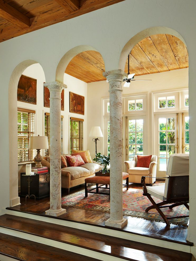 Home Depot Kingman Az with Mediterranean Living Room Also Arch Archway Beige Armchair Beige Sofa Beige Wall Column Dark Wood Floor Glass French Doors Natural Lighting Pillar Raised Living Room Rustic Wood Ceiling Step Up Living Room