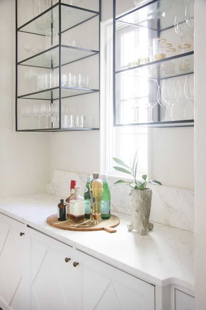 Home Depot Metal Shelving   Transitional Home Bar  and Drinks Cabinet Glass and Metal Shelves Glass and Metal Shelving Open Shelving Wine Glass Storage