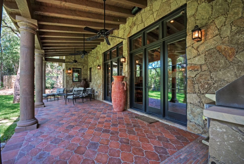 Home Depot Patio Tiles   Mediterranean Patio  and Barbecue Beams Cantera Ceiling Fans Clay Tile Columns Covered Patio Doors Grass Grill Hacienda Lake Austin Lake House Lawn Mediterranean Rafters Sandstone Spanish Stonework Stucco Wood Beams