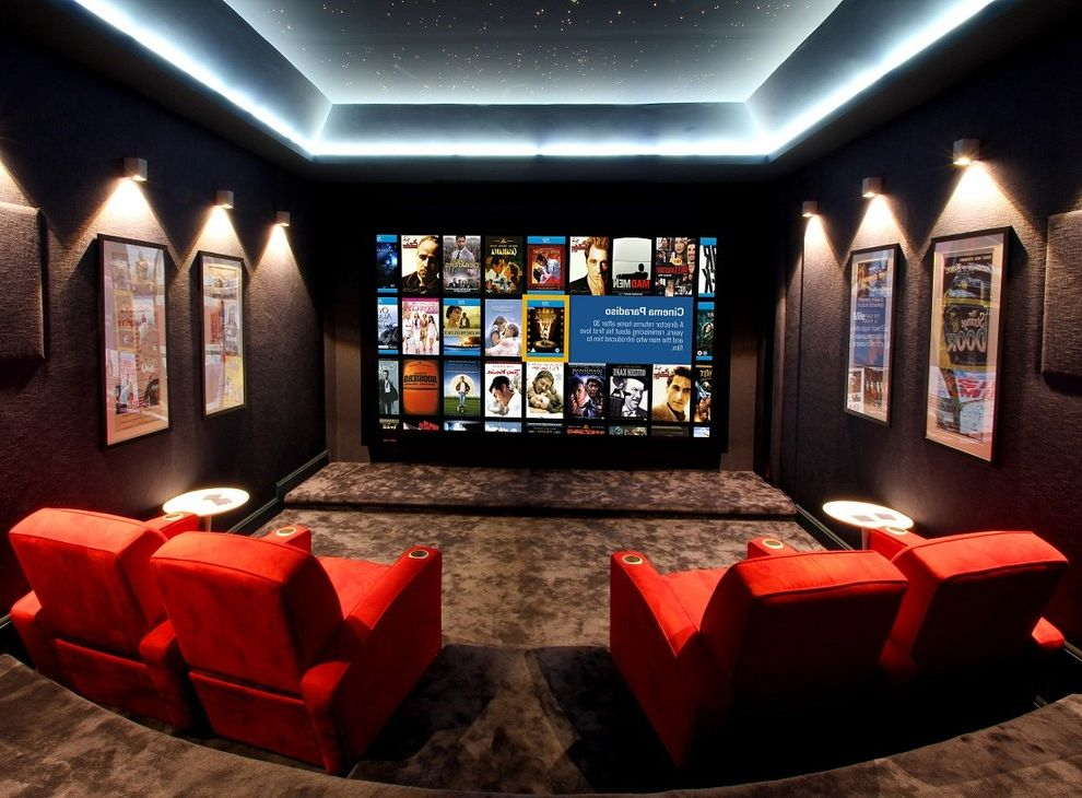 Home Depot Picture Light with Contemporary Home Theater  and Art Lights Ceiling Treatment Cup Holders Dark Colors Display Lights Earth Tones Framed Art Home Theater Movies Red Armchairs Screening Room Side Tables Step