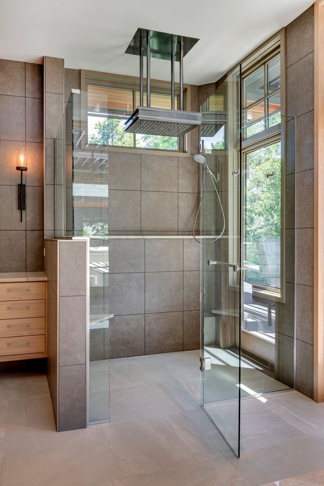 Home Depot Rain Shower Head with Contemporary Bathroom Also Glass Shower Door Lots of Natural Light Rain Shower Square Tiles Standing Shower Windows