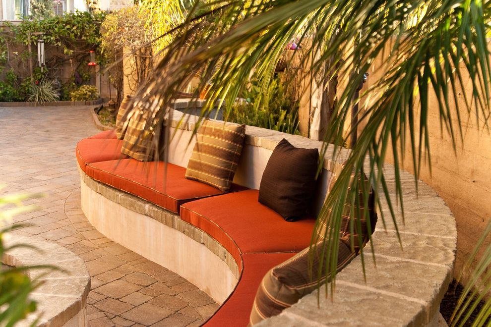 Home Depot Rancho Cucamonga   Mediterranean Patio  and Built in Bench Decorative Pillows Outdoor Cushions Palm Trees Patio Furniture Pavers Seat 23 Longseat 22 Deepback Rest 18 Throw Pillows