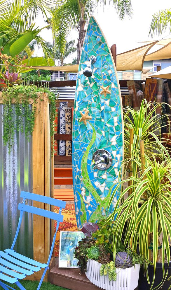 Home Depot Shower Board   Beach Style Patio Also Art Beach Ceramic Eclectic Functional Garden Glass Kelp Mosaic Ocean Outdoor Recycled Sculpture Sea Shells Shower Starfish Surfboard Sustainable Tile Upcycled Waves