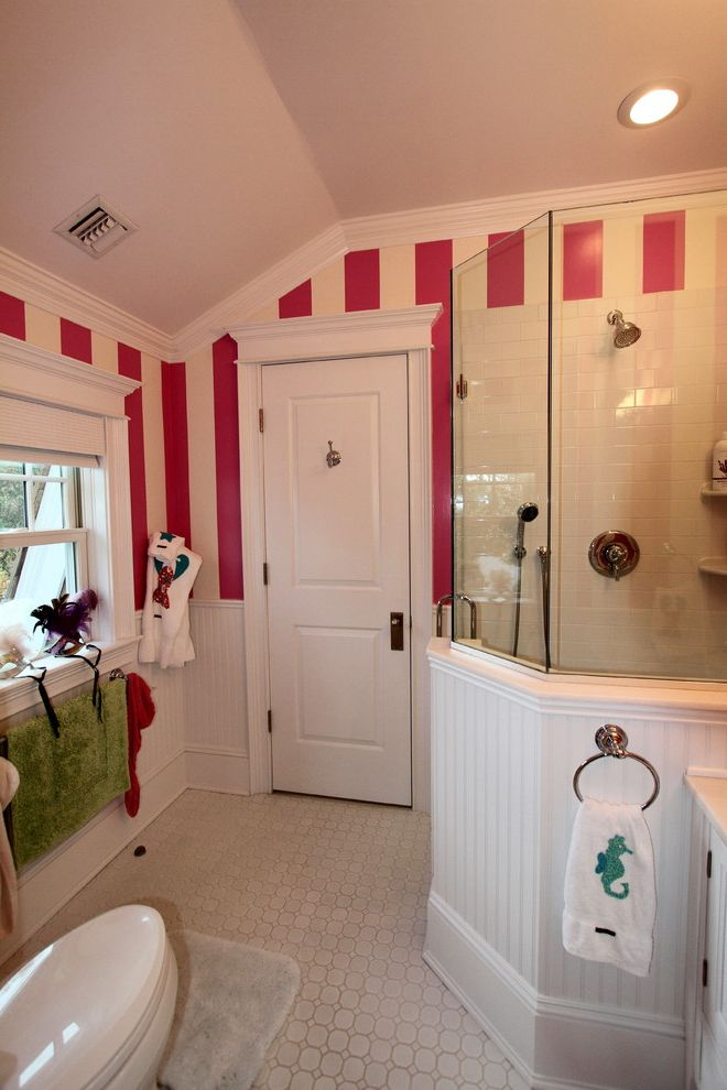 Home Depot Shower Board with Eclectic Bathroom Also Bead Board Red and White Striped Wallpaper Roman Shade Shower Enclosure Tile Floor Tile Wall Vaulted Ceiling