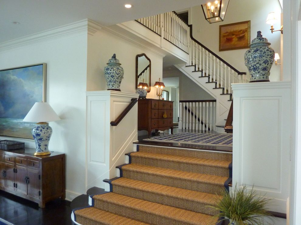 Home Depot Sisal Rug with Traditional Staircase Also Asian Dark Wood Floor Hall Jute Rug Lantern Multi Level Stairs Rug Seagrass Sisal Rug Stairs Urns Wainscoting Wood Floor Wood Stairs