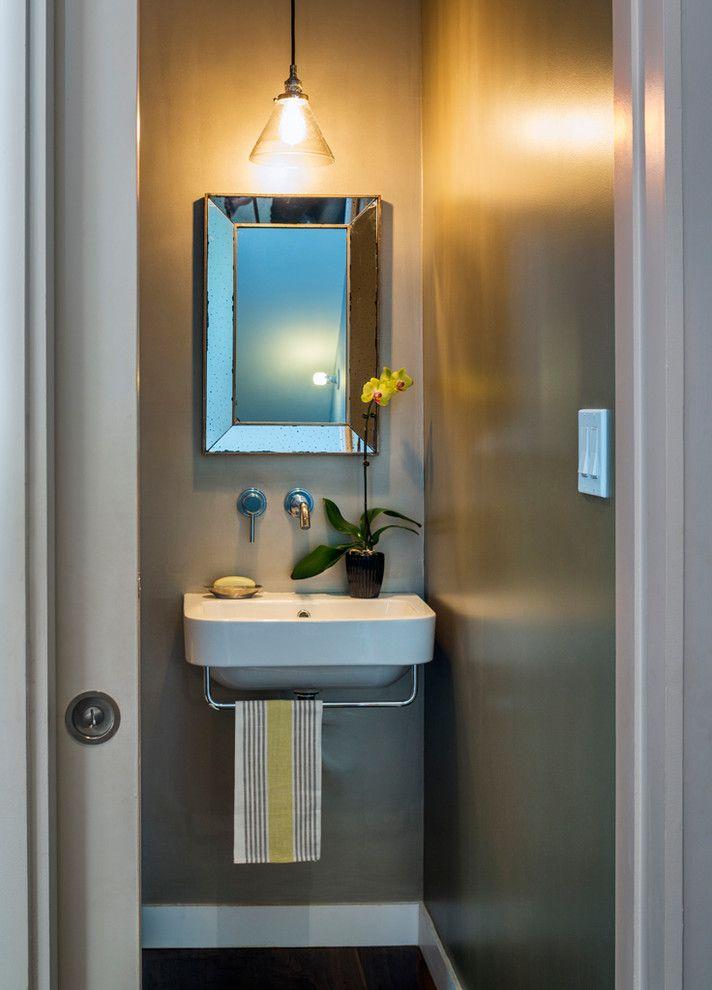 Home Depot Valspar Paint with Contemporary Powder Room Also Metallic Paint Mirror Pendant Light Pocket Door Sink Mounted Towel Bar
