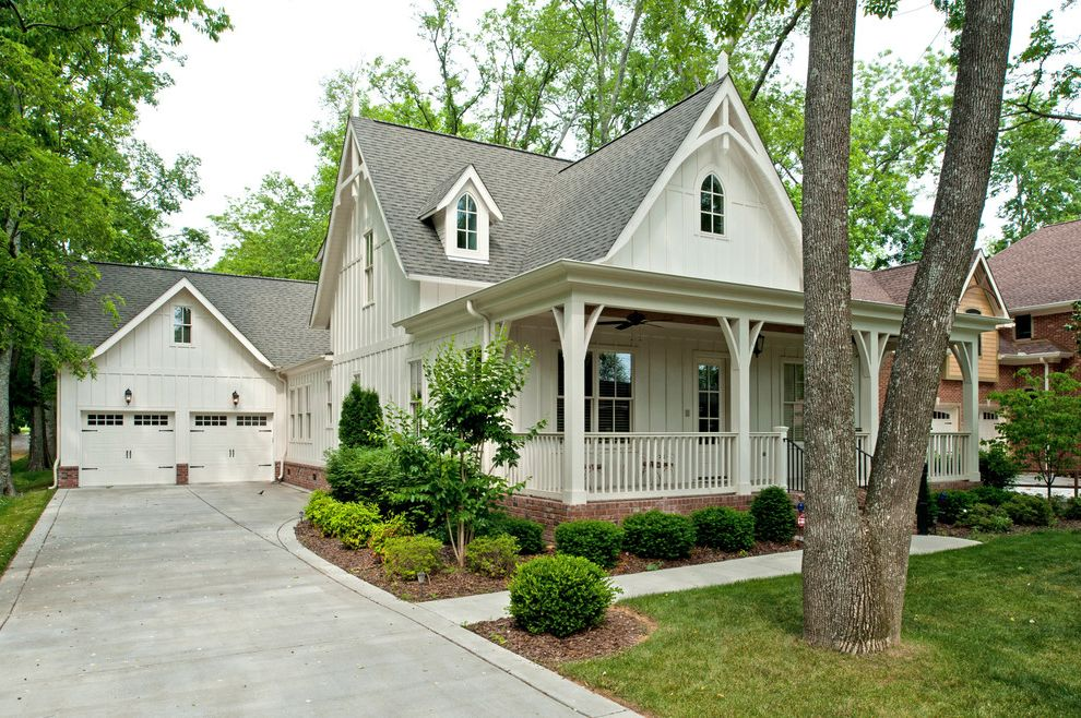 Home Depot Valspar Paint with Traditional Exterior Also Bargeboard Belt Line Board and Batten Siding Detached Garage Front Porch Front Yard Gable Dormer Window Gables Veranda White Garage Doors White House White Siding White Walls