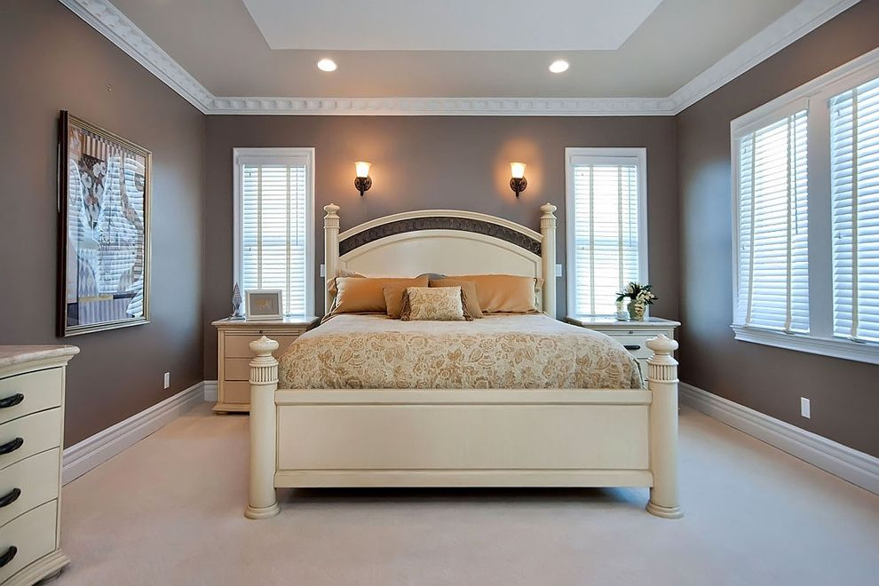 Home Depot Woodbridge Va   Contemporary Bedroom Also Brown Carpeting Carved Wood Bed Dentil Molding Night Stands Recessed Lights Tray Ceiling Wall Sconces
