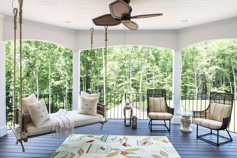 Home Depot Woodbridge Va   Transitional Balcony Also Black Wicker Chairs Columns Hanging Bench Outdoor Ceiling Swinging Bench Wood Decking