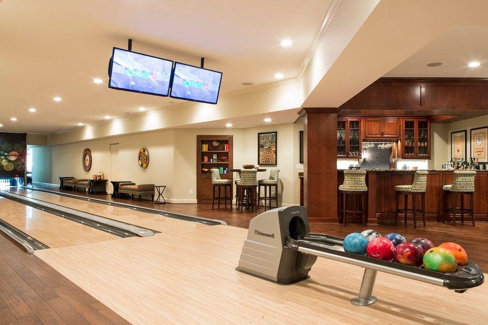 Home Depot Woodbridge Va   Transitional Basement Also Basement Bar Bowling Alley Dark Wood Accents Light Hardwood Bowling Alley Sitting Area