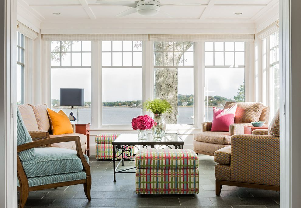 Home Depot Woodbridge Va   Transitional Sunroom Also Armchairs Ceiling Fan Coffee Table Coffered Ceiling Sunroom Water View Windows