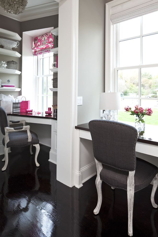 Home Depot Woodbridge Va with Traditional Home Office  and Accessories Antiqued Chairs Black Built in Desk Chandelier Gray Lamp Martha Ohara Interiors Pink Roman Shade Shelves White Window Treatment