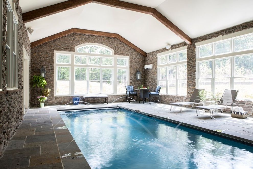Home Depot Woodbridge Va with Transitional Pool Also Exposed Wood Beams Gray Chaise Medium Blue Pool Pool with Fountains Stacked Stone Walls
