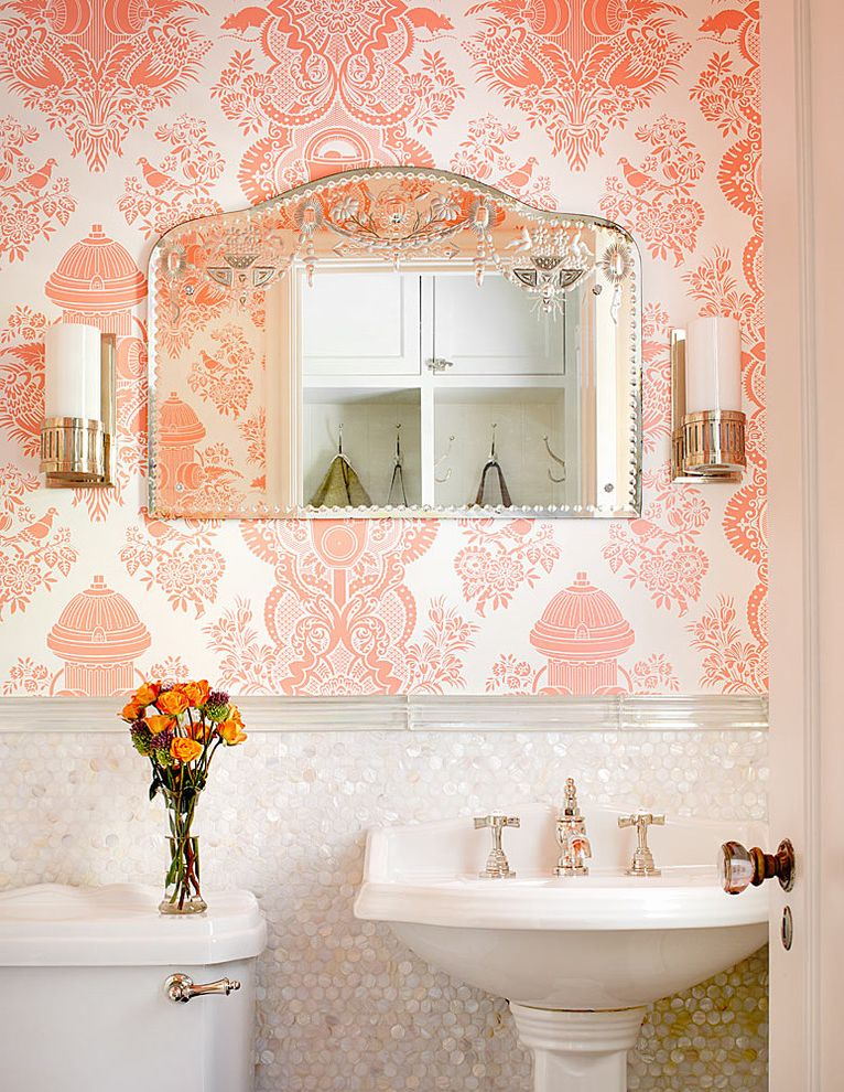 Home Depot Yuba City   Traditional Powder Room  and Bathroom Lighting Etched Glass Feminine Glass Knob Pearlescent Tile Pedestal Sink Penny Tile Pink Wallpaper Sconce Wainscoting Wall Lighting