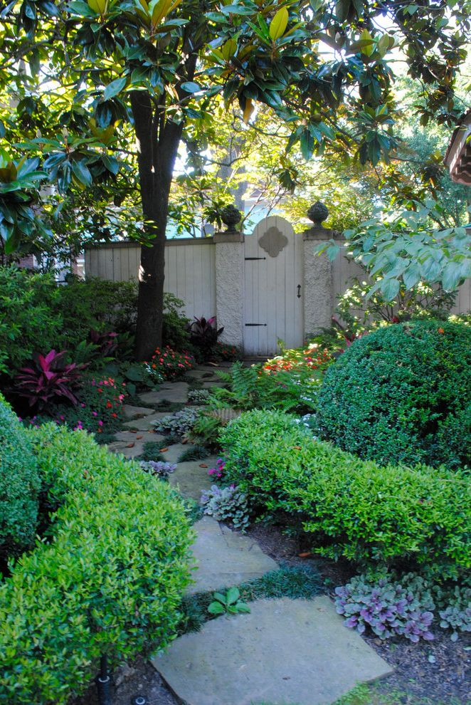 Home Inspection Memphis Tn   Traditional Landscape Also Boxwood Fence Flower Bed Flowers Garden Garden Gate Gate Hedge Shade Plants Side Yard Stepping Stones Stone Stone Path Stone Pavers Style Succulent Tree White Fence