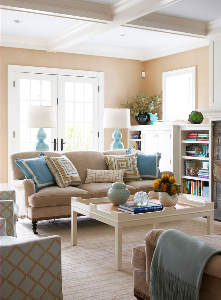 Homegoods Norwalk Ct   Beach Style Living Room  and Area Rug Armchair Bookcases Built in Coffe Table French Doors Fringe Lamps Pillows Sofa Throw Turquoise
