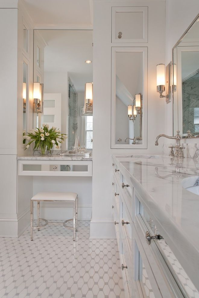 Homegoods Norwalk Ct   Traditional Bathroom  and Double Sinks Marble Countertops Mirror Door Cabinets Moulding Pattern Tile Floor Silver Hardware Statuary Marble Stool Wall Sconces White White Walls