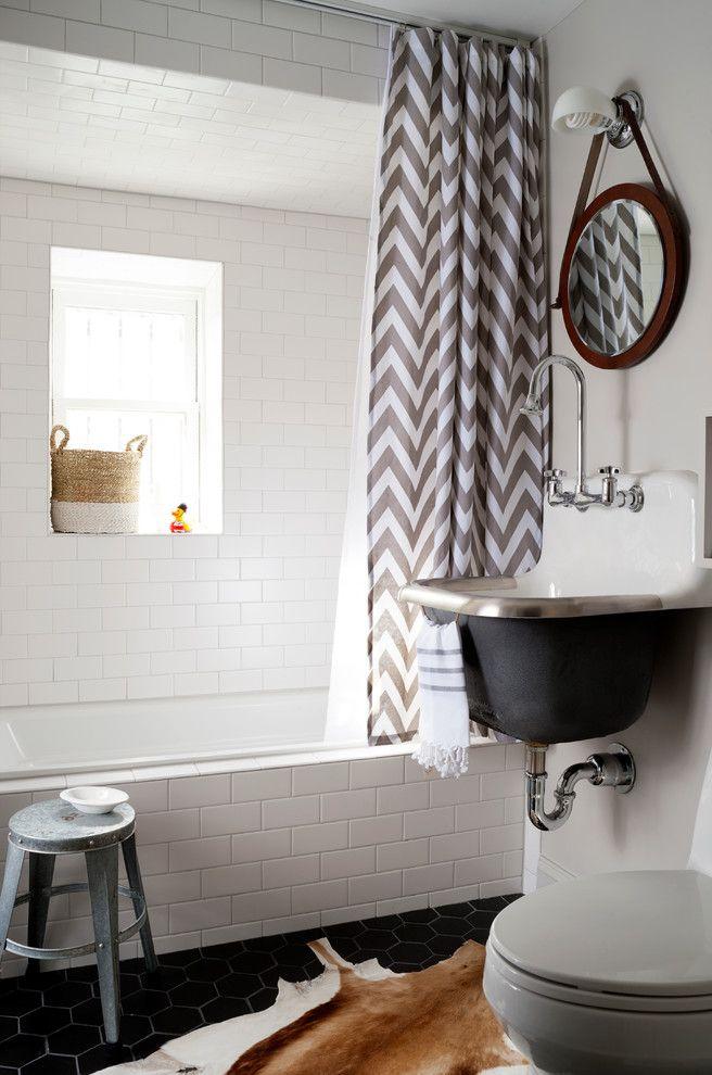 Homegoods Norwalk Ct   Transitional Bathroom Also Animal Skin Rug Bridge Faucet Chevron Print Shower Curtain Gray and White Shower Curtain Hexagonal Tile Round Mirror Shower Window
