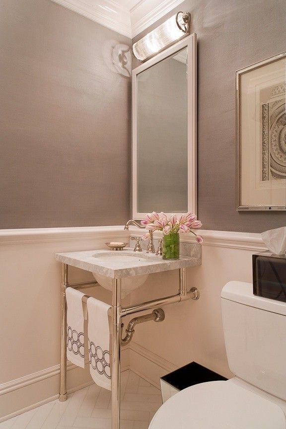 Homegoods Norwalk Ct   Transitional Bathroom  and Classic Clean Gray Herringbone Pattern Marble Polished Nickel Powder Room Transitional