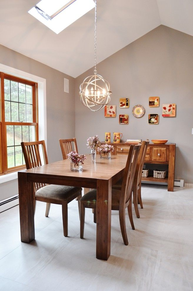Homegoods Norwalk Ct Transitional Dining Room And Brushed Steel Orbit Pendant Gray Taupe Walls Skylight Wall Collage Walnut Buffet Table White