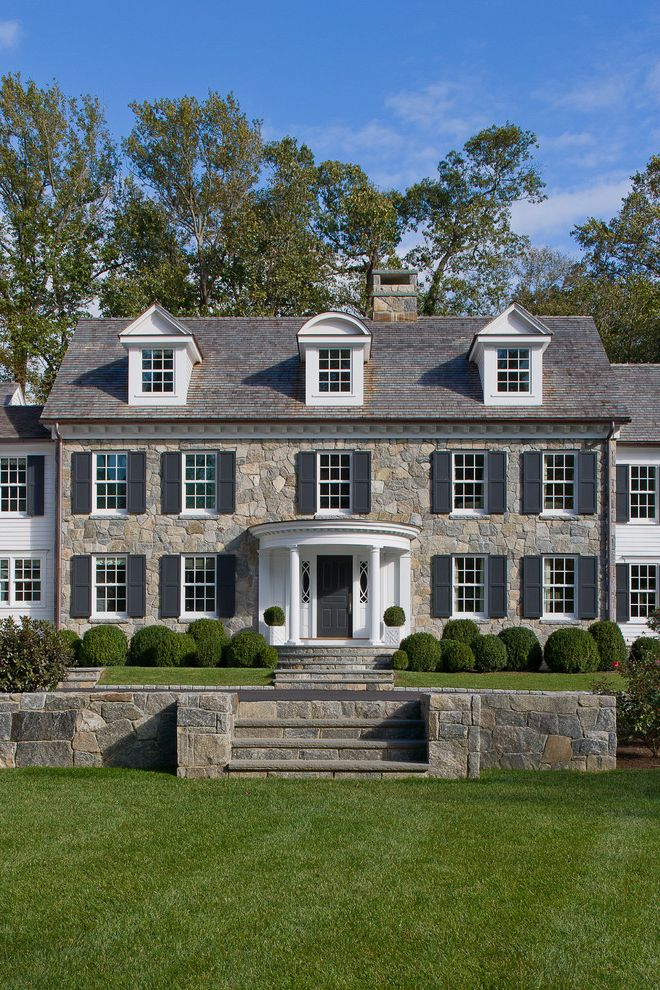 Homegoods Norwalk Ct with Traditional Exterior Also Black Shutters Chimney Colonial Country Home Custom Dormers Front Garden Wall Portico Shaped Hedge Stone Stone Exterior Stone Steps White Lap Siding