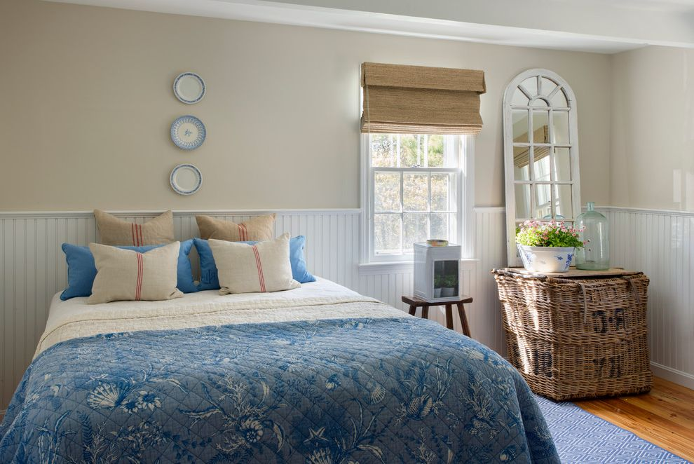 Homegoods Rugs   Beach Style Bedroom  and Bamboo Roman Shade Beadboard Wainscoting Blue Bedding Blue Rug