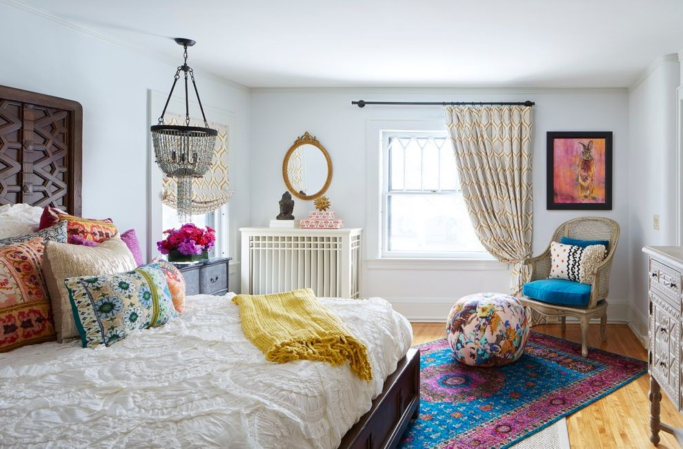 Homegoods Rugs   Eclectic Bedroom  and Beautiful Bohemian Chandelier Colorful Pillows Creative Oval Mirror Revival Rug Unique Victorian White Bedding