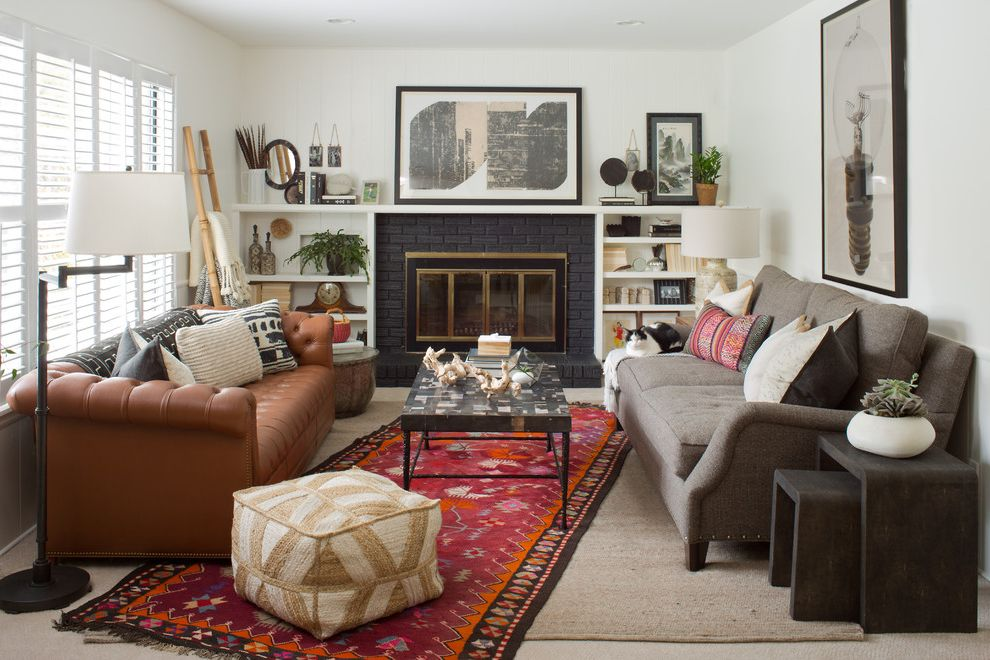 Homegoods Rugs   Eclectic Living Room  and Black Brick Boho Bookshelves Around Fireplace Chesterfield Tufted Eclectic Midcentury Mud Cloth Petrified Wood Shagreen Table Tribal Turkish Rug Vintage White Paneling