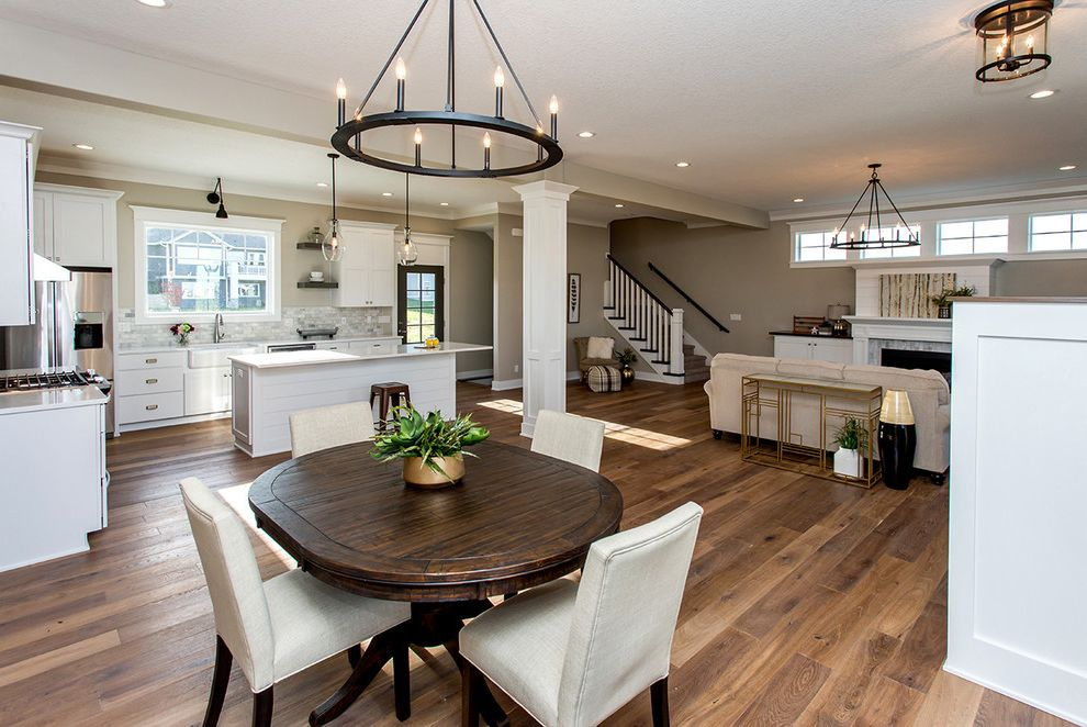 Homemakers Des Moines with Transitional Spaces Also Chandelier Open Concept White Kitchen Wood Floors