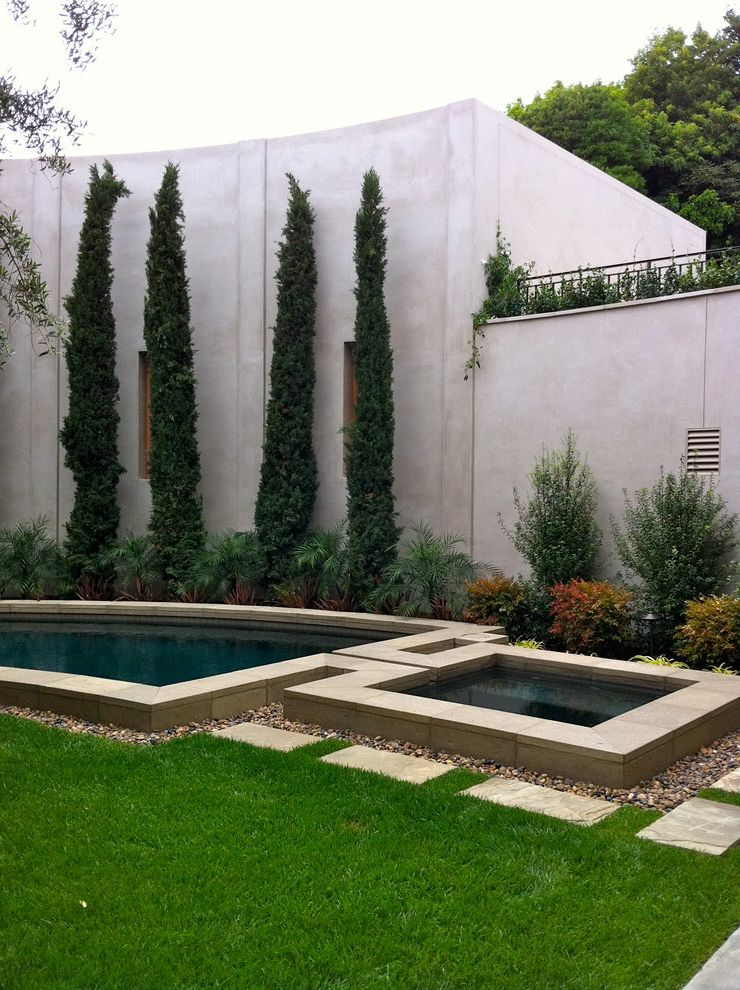 Homer Tree Service   Contemporary Pool Also Balcony Concrete Wall Coping Courtyard Evergreen Italian Italian Cypress Lawn Pebbles Pool Stepping Stones