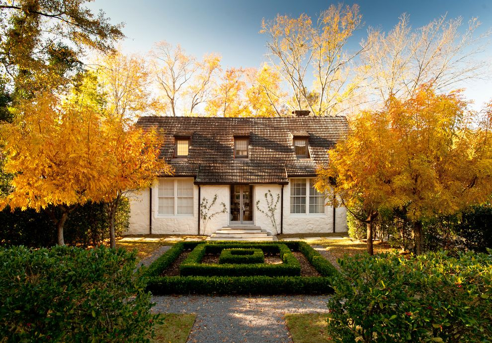 Homer Tree Service   Traditional Exterior  and Boxwood Dormers Fall Colors Gravel Path Hedge Parterre Rough Stucco Shingle Roof White