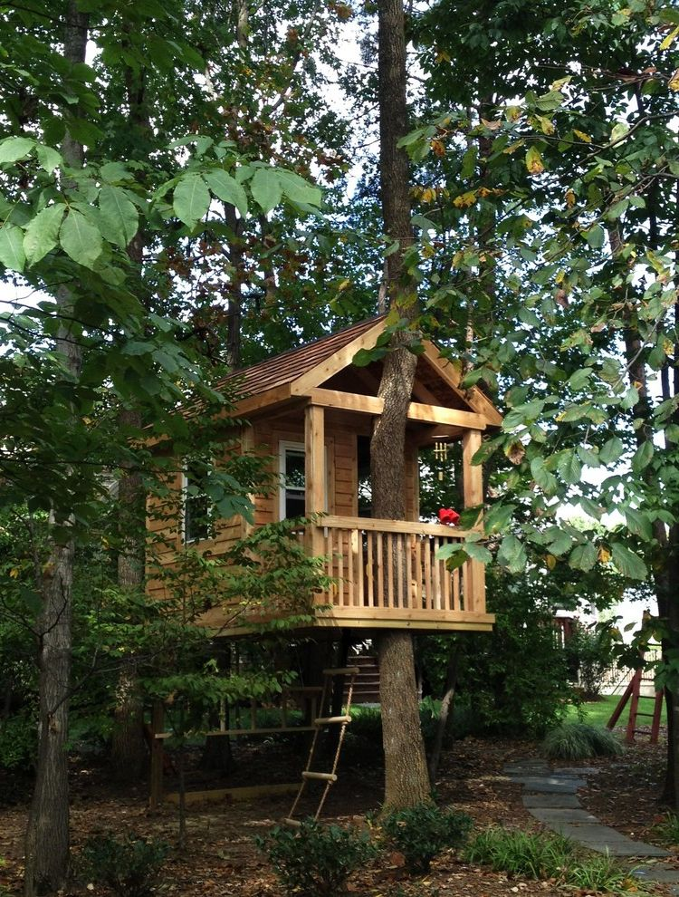 Homer Tree Service   Traditional Landscape  and Double Hung Windows Gable Roof Lap Siding Path Playhouse Porch Rope Ladder Stepping Stones Tree House Materials Cedar Wood Wood Railing Wood Siding