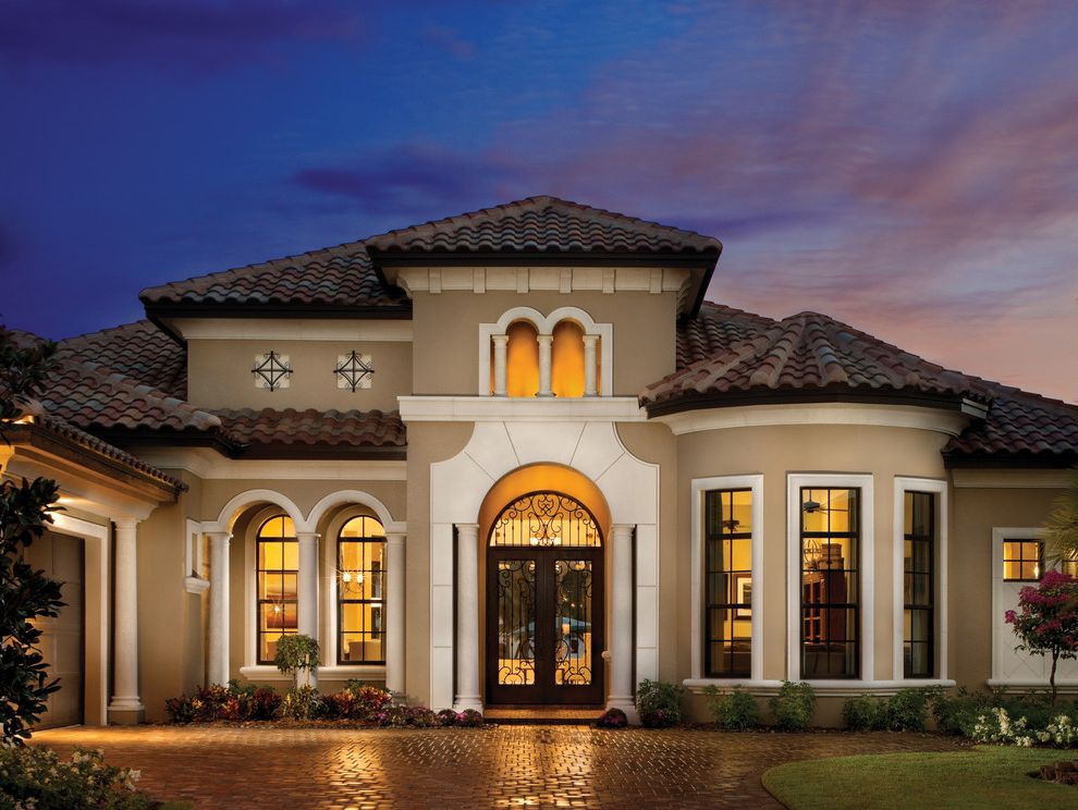 Homes for Sale in Heathrow Fl   Mediterranean Exterior Also Arch Top Windows Bay Window Brick Paving Columns Entrance Entry Foundation Planting Front Door Tile Roof