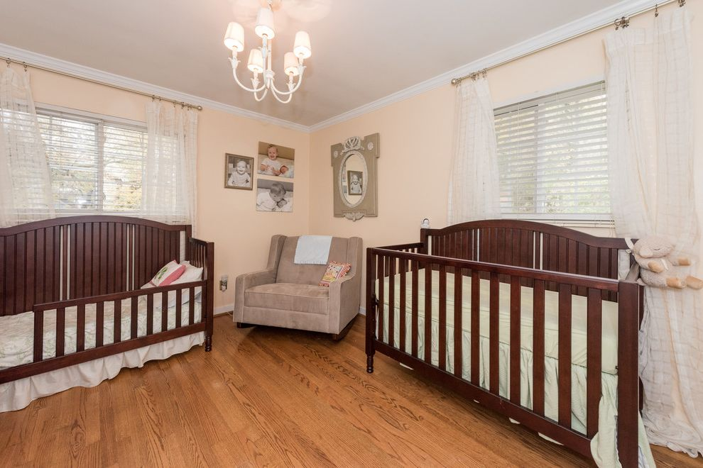 Homewood Nursery   Contemporary Nursery  and Crib Hardwood Flooring Rocking Chair Sheer Curtains