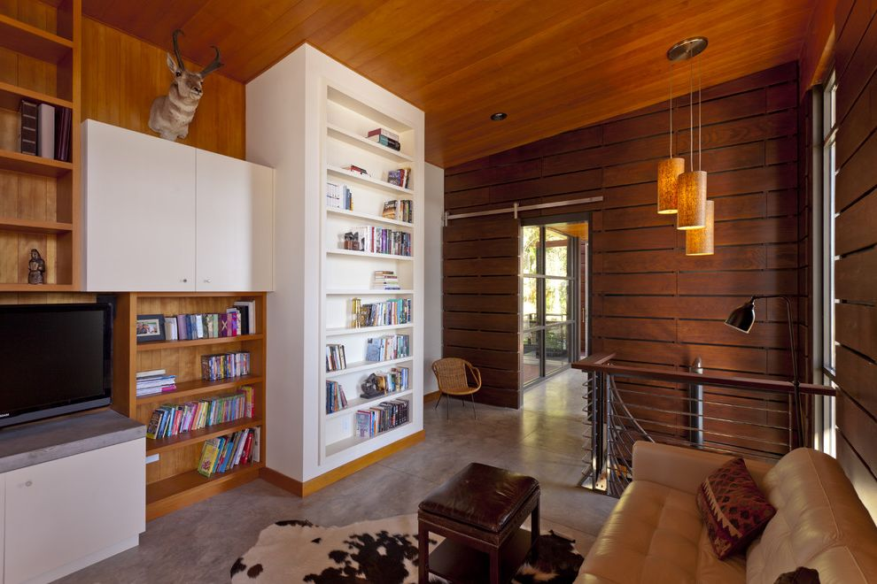 Horizontal Bookshelf   Modern Family Room Also Barn Door Bookshelf Built in Bookshelf Family Living Known Lab Door Leather Sofa Modern Living Room Pendant Light White Bookshelf White Media Console Wood Cabinets Wood Ceiling Wood Walls